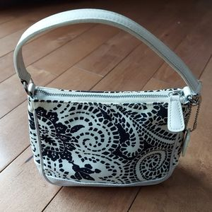 Coach black and white mini bag leather and canvas
